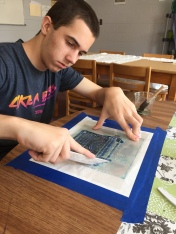 Melissa- Marc working on his submission to the art show (2)